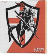 Proud To Be English Happy St George Day Retro Poster Wood Print