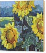 Provence Sunflower Trio Wood Print