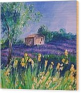 Provence Yellow Flowers Wood Print