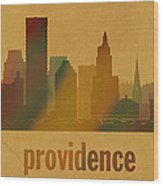 Providence Rhode Island City Skyline Watercolor On Parchment Wood Print