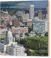 Providence Rhode Island Downtown Skyline Aerial Wood Print