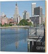 Providence Skyline And Riverfront Wood Print