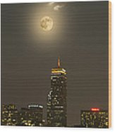 Prudential Tower With Supermoon 2013 Wood Print