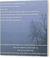 Psalm 23 Foggy Morning Wood Print