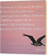 Psalm With Pelican And Pink Sky Wood Print