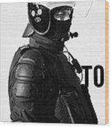 Psni Officer In Ninja Riot Geat On Crumlin Road At Ardoyne Shops Belfast 12th July Wood Print by Joe Fox