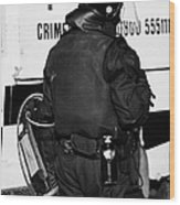 Psni Officer With Riot Gear On Crumlin Road At Ardoyne Shops Belfast 12th July Wood Print