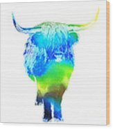 Psychedelic Bovine #2 Wood Print