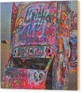 Psychedelic Cadillac Wood Print