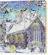 Psychedelic English Village Church In Winter Wood Print