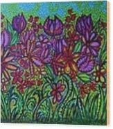Psychedelic  Flower Garden Wood Print
