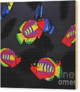 Psychedelic Flying Fish Wood Print