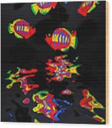 Psychedelic Flying Fish With Psychedelic Reflections Wood Print