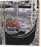 Psychedelic Gondola Venice Wood Print