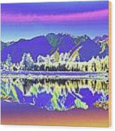 Psychedelic Lake Matheson New Zealand 2 Wood Print