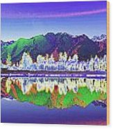Psychedelic Lake Matheson New Zealand Wood Print