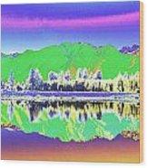 Psychedelic Mirror Lake New Zealand 3 Wood Print