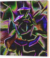 Psychedelic Rubber Plant Wood Print