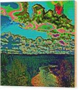 Psychedelic Skyline Over Spokane River #2 Wood Print