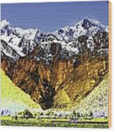 Psychedelic Southern Alps New Zealand Wood Print