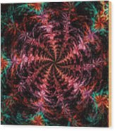 Psychedelic Spiral Vortex Purple Pink And Teal Fractal Flame Wood Print