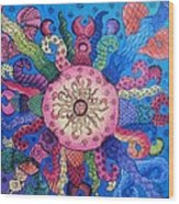 Psychedelic Squid 2 Wood Print