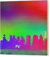 Psychedelic Vancouver Skyline Triptych Centre Wood Print