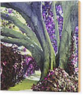 Psychedelic Purple Fuschsia Earthy Tree Street Landscape Los Angeles Cool Artistic Affordable Art Wood Print