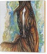 Psychodelic Chestnut Horse Original Painting Wood Print