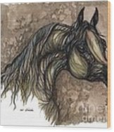 Psychodelic Grey Horse Original Painting Wood Print