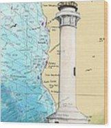 Pt Arena Lighthouse Ca Nautical Chart Map Art Cathy Peek Wood Print