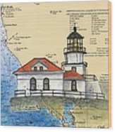 Pt Bonita Lighthouse Ca Nautical Chart Map Art Wood Print