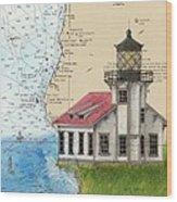 Pt Cabrillo Lighthouse Ca Nautical Chart Map Art Cathy Peek Wood Print