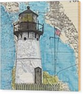 Pt Montara Lighthouse Ca Nautical Chart Map Art Cathy Peek Wood Print