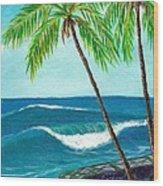 Puako Sea Wall Wood Print