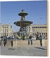Public Fountain At The Place De La Concorde Wood Print