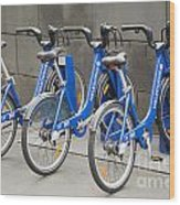 Public Shared Bicycles In Melbourne Australia Wood Print