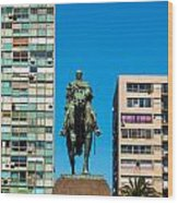 Public Statue Of General Artigas In Montevideo Wood Print