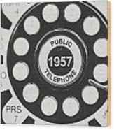 Public Telephone 1957 In Black And White Retro Wood Print