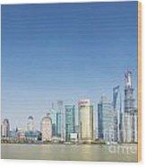 Pudong Skyline In Shanghai China Wood Print