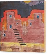 Pueblito Original Painting Wood Print
