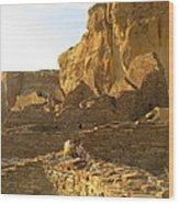 Pueblo Bonito And Cliff Wood Print