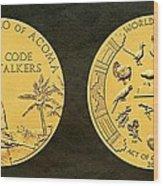 Pueblo Of Acoma Tribe Code Talkers Bronze Medal Art Wood Print