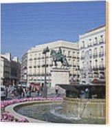 Puerta Del Sol In Madrid Wood Print