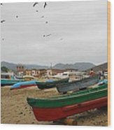 Puerto Lopez Beach And Boats Wood Print