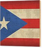 Puerto Rico Flag Vintage Distressed Finish Wood Print by Design Turnpike