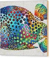 Puffer Fish Art - Puff Love - By Sharon Cummings Wood Print