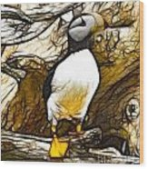Puffin Watch Wood Print