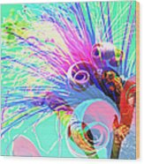 Puffy Bloom W Bee Abstract Wood Print