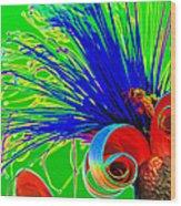 Puffy Bloom W Bee In Rainbow Wood Print